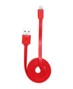 Lightning Flat cable to USB (1m), Red by The Kase Collection