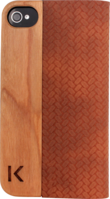Flip case for Apple iPhone 4/4S, Brown leather & Natural Cherry Wood by The Kase Collection